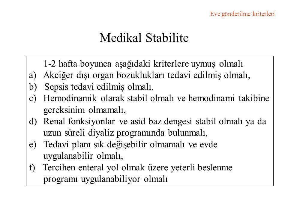 Medikal Stabilite 1-2 hafta boyunca aşağıdaki kriterlere uymuş olmalı