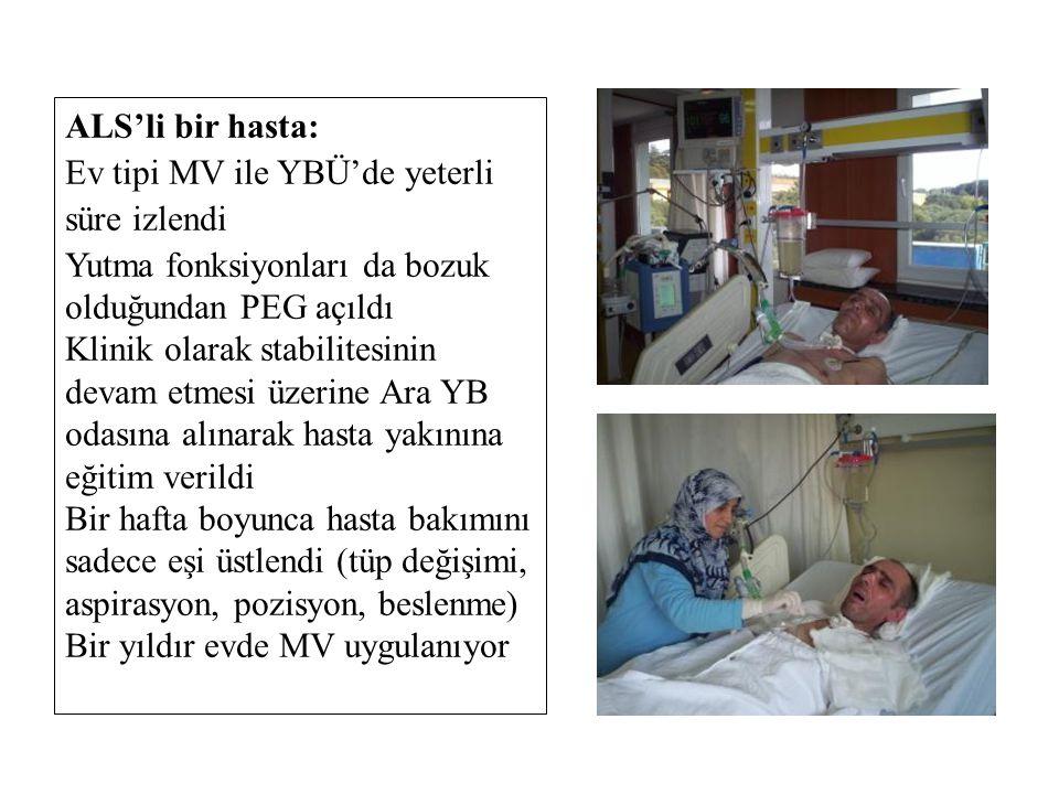 ALS'li bir hasta: Ev tipi MV ile YBÜ'de yeterli süre izlendi. Yutma fonksiyonları da bozuk olduğundan PEG açıldı.
