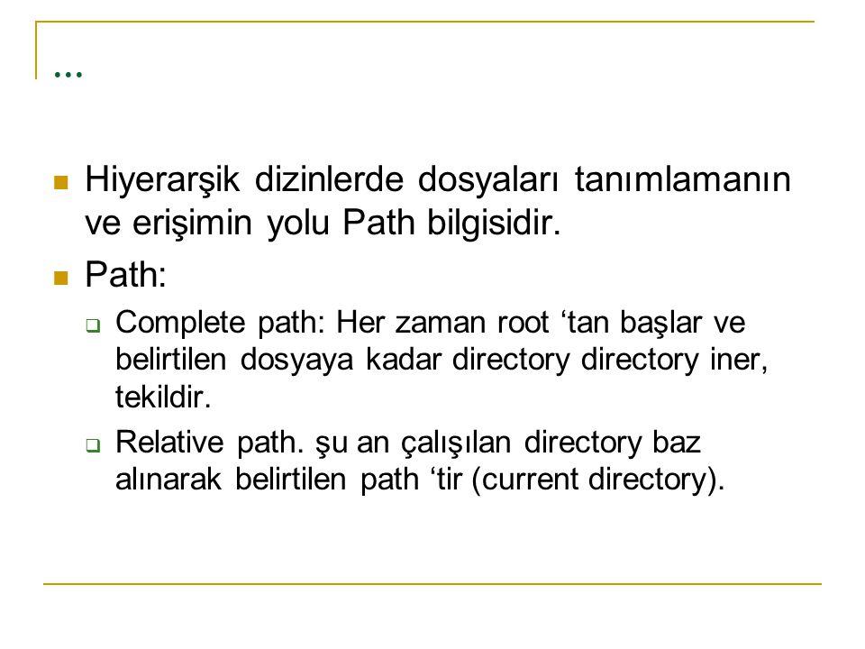 ... Hiyerarşik dizinlerde dosyaları tanımlamanın ve erişimin yolu Path bilgisidir. Path: