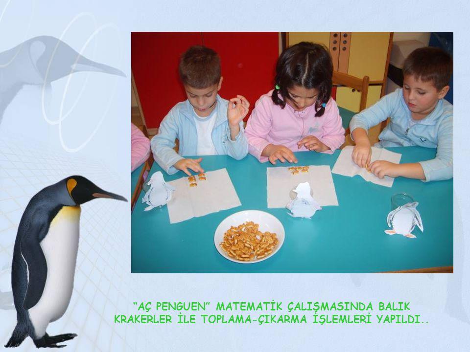 AÇ PENGUEN MATEMATİK ÇALIŞMASINDA BALIK KRAKERLER İLE TOPLAMA-ÇIKARMA İŞLEMLERİ YAPILDI..