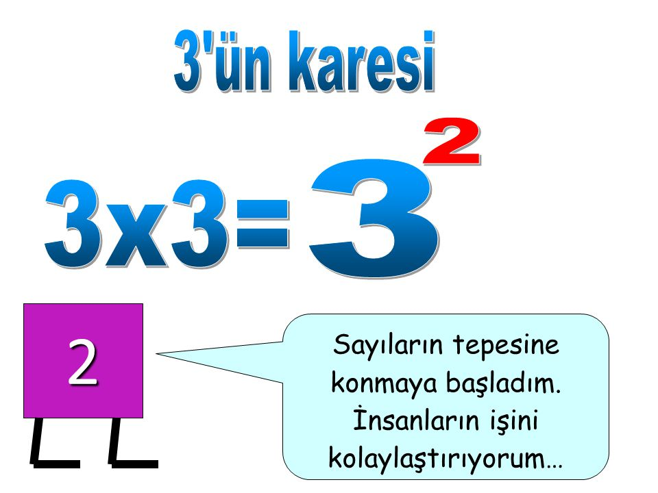 2 3 ün karesi 2 3 3x3= Sayıların tepesine konmaya başladım.