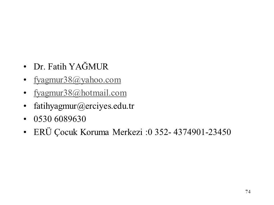 Dr. Fatih YAĞMUR fyagmur38@yahoo.com. fyagmur38@hotmail.com. fatihyagmur@erciyes.edu.tr. 0530 6089630.