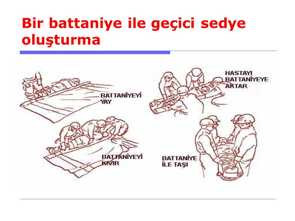 Bir battaniye ile geçici sedye oluşturma