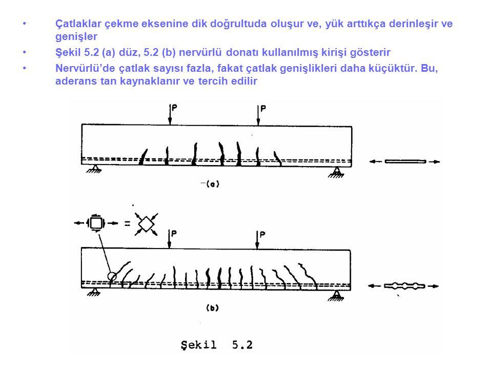 Çatlaklar çekme eksenine dik doğrultuda oluşur ve, yük arttıkça derinleşir ve genişler