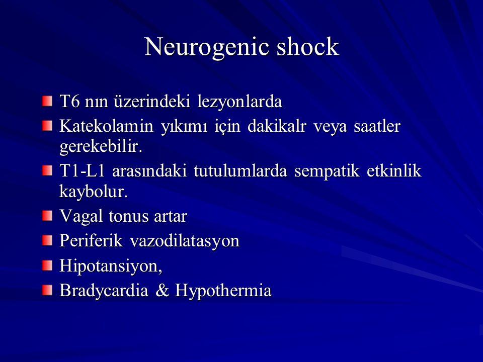Neurogenic shock T6 nın üzerindeki lezyonlarda