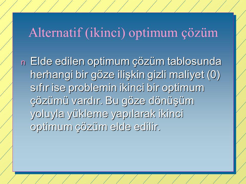 Alternatif (ikinci) optimum çözüm