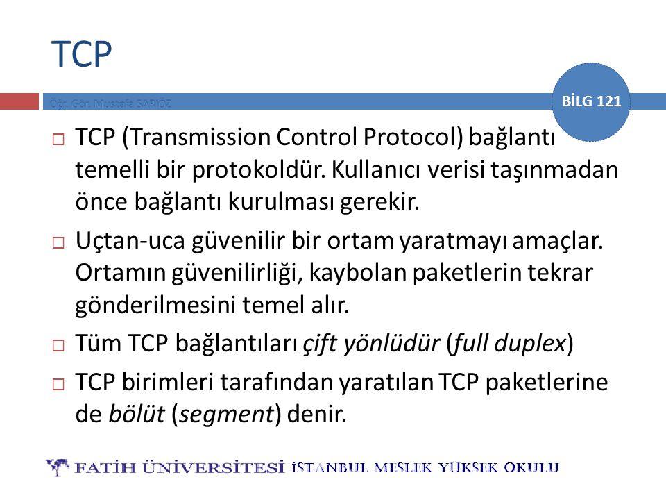 TCP TCP (Transmission Control Protocol) bağlantı temelli bir protokoldür. Kullanıcı verisi taşınmadan önce bağlantı kurulması gerekir.