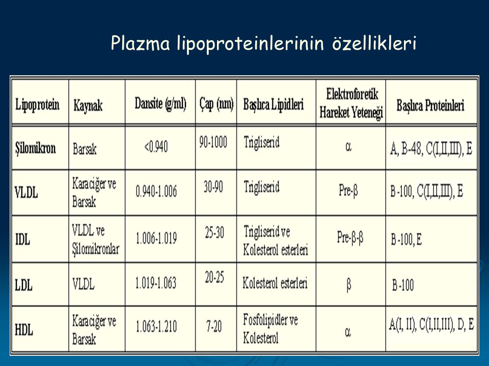 Plazma lipoproteinlerinin özellikleri