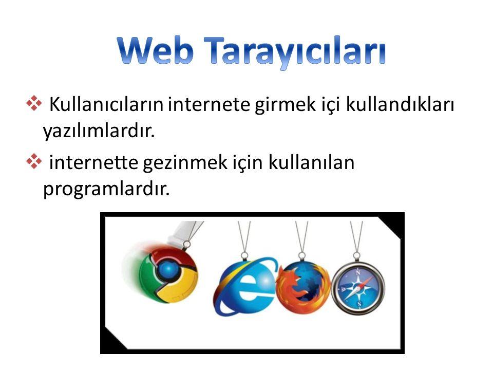 Web Tarayıcıları Kullanıcıların internete girmek içi kullandıkları yazılımlardır.