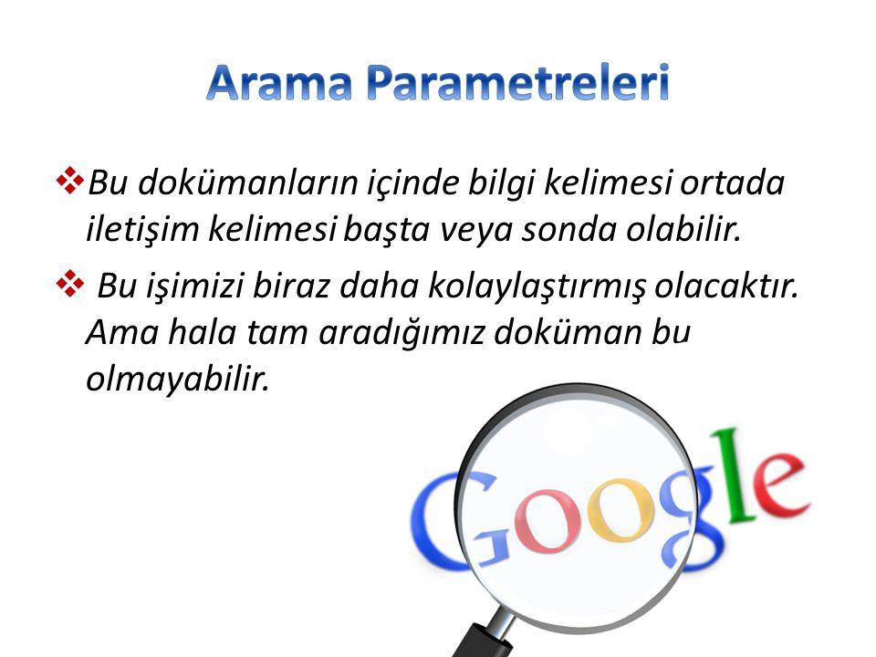 Arama Parametreleri Bu dokümanların içinde bilgi kelimesi ortada iletişim kelimesi başta veya sonda olabilir.