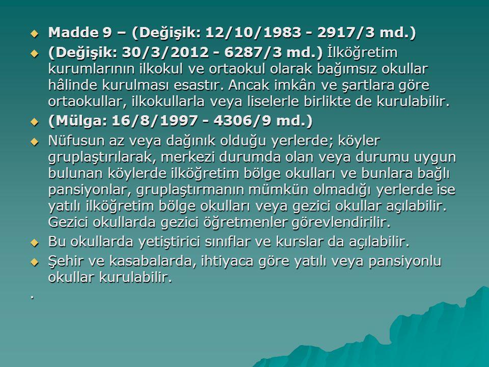 Madde 9 – (Değişik: 12/10/1983 - 2917/3 md.)