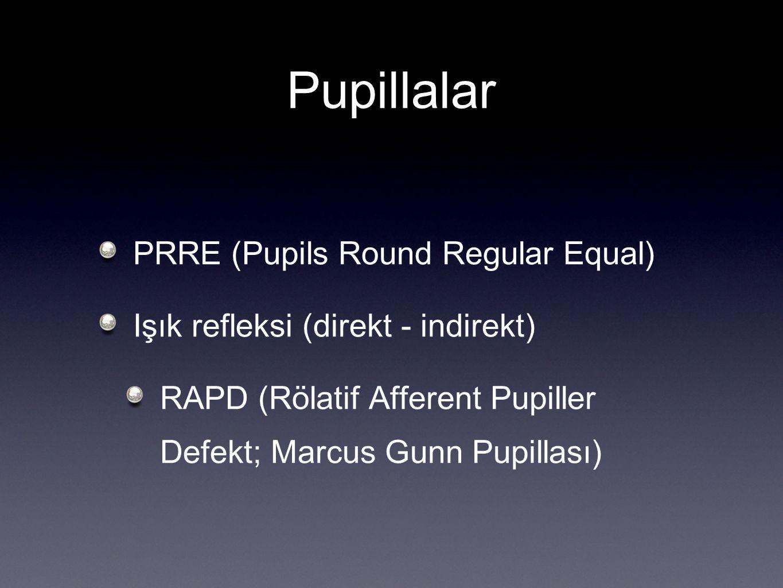 Pupillalar PRRE (Pupils Round Regular Equal)