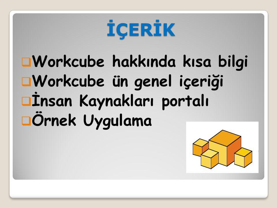 İÇERİK Workcube hakkında kısa bilgi Workcube ün genel içeriği