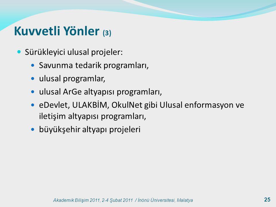 Kuvvetli Yönler (3) Sürükleyici ulusal projeler: