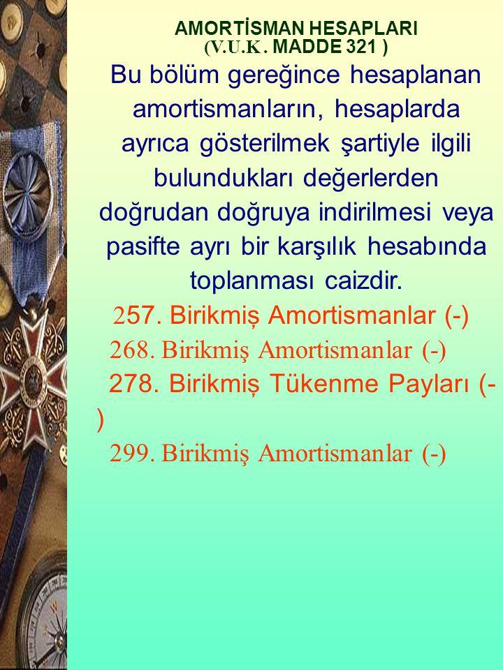 268. Birikmiş Amortismanlar (-) 278. Birikmiş Tükenme Payları (-)