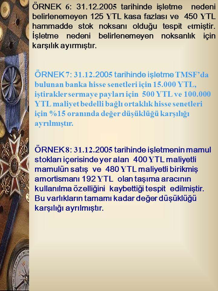 ÖRNEK 6: 31.12.2005 tarihinde işletme nedeni belirlenemeyen 125 YTL kasa fazlası ve 450 YTL hammadde stok noksanı olduğu tespit etmiştir. İşletme nedeni belirlenemeyen noksanlık için karşılık ayırmıştır.