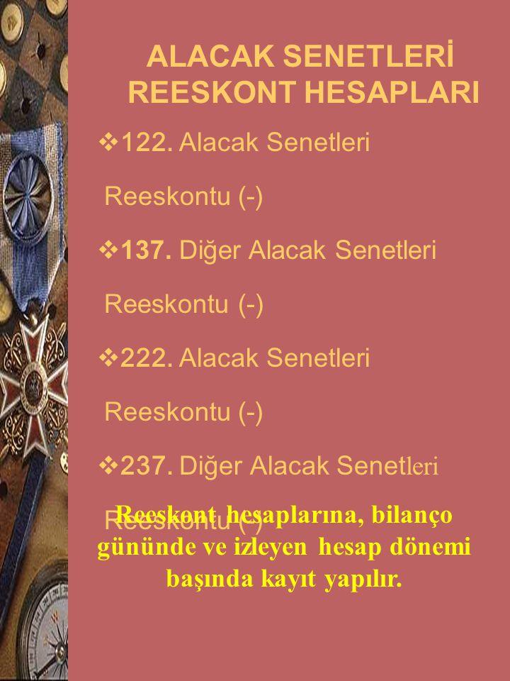 ALACAK SENETLERİ REESKONT HESAPLARI