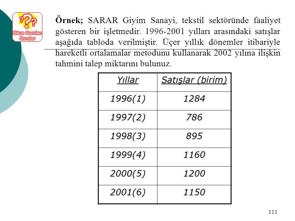 Örnek; SARAR Giyim Sanayi, tekstil sektöründe faaliyet gösteren bir işletmedir. 1996-2001 yılları arasındaki satışlar aşağıda tabloda verilmiştir. Üçer yıllık dönemler itibariyle hareketli ortalamalar metodunu kullanarak 2002 yılına ilişkin tahmini talep miktarını bulunuz.