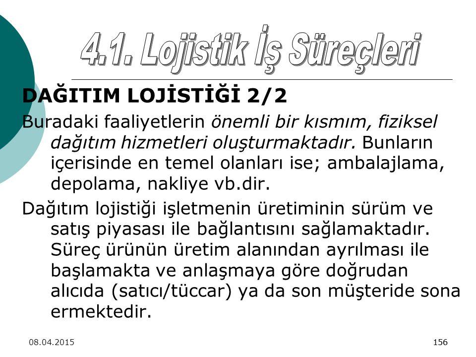 4.1. Lojistik İş Süreçleri DAĞITIM LOJİSTİĞİ 2/2