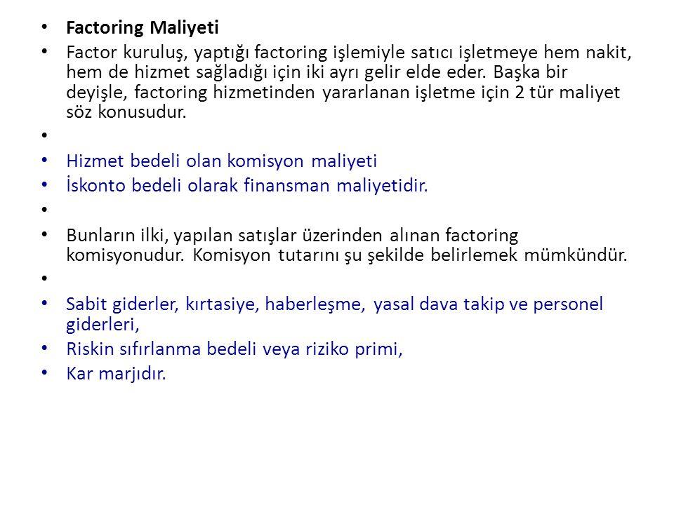 Factoring Maliyeti