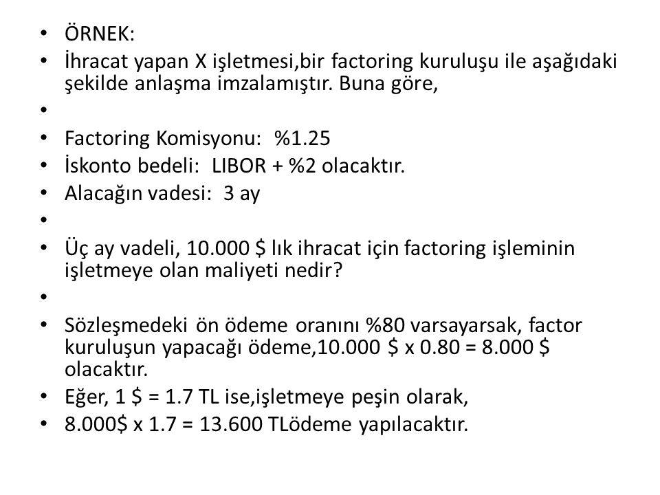 Örnek: İhracat yapan X işletmesi,bir factoring kuruluşu ile aşağıdaki şekilde anlaşma imzalamıştır. Buna göre,