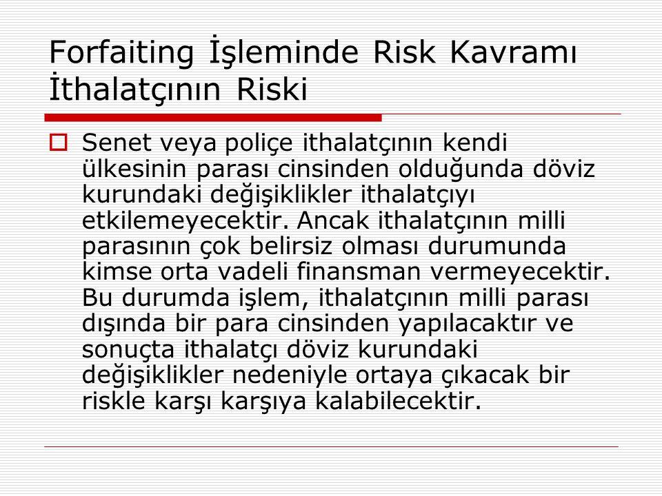 Forfaiting İşleminde Risk Kavramı İthalatçının Riski