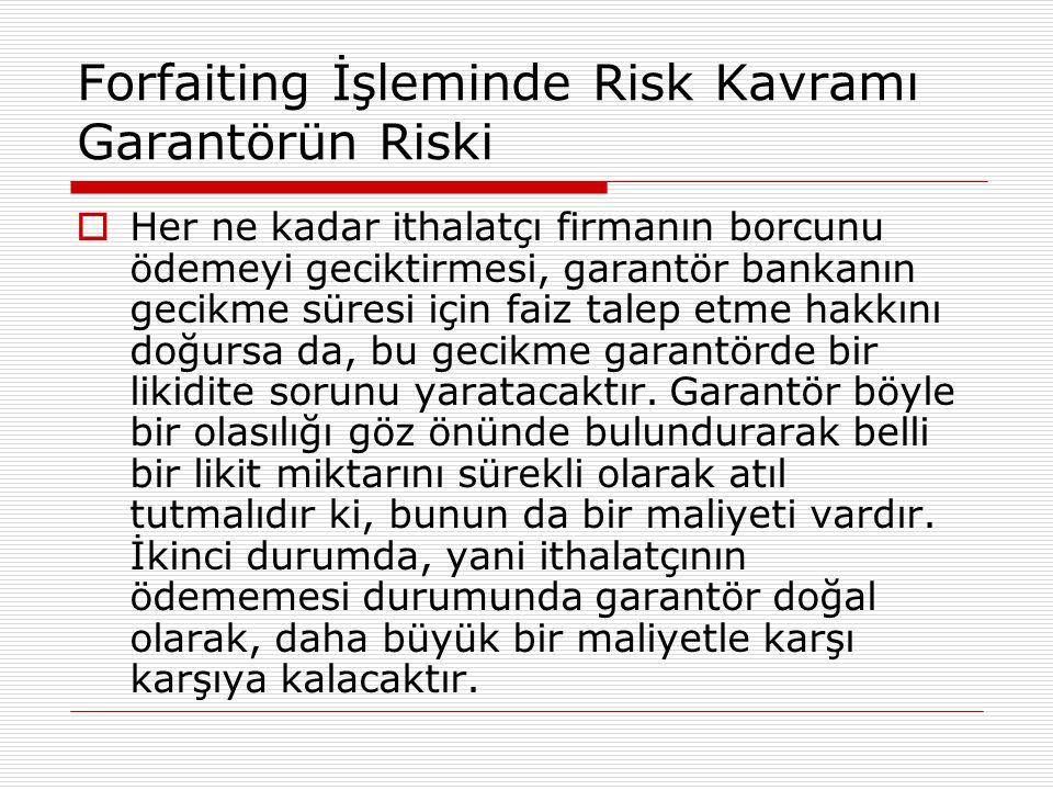 Forfaiting İşleminde Risk Kavramı Garantörün Riski