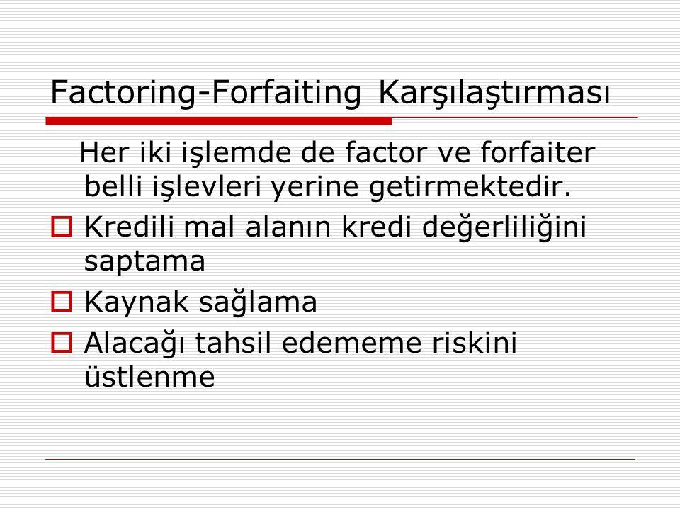 Factoring-Forfaiting Karşılaştırması