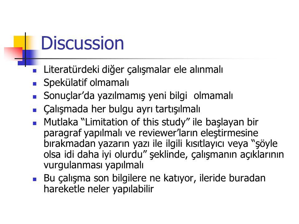Discussion Literatürdeki diğer çalışmalar ele alınmalı