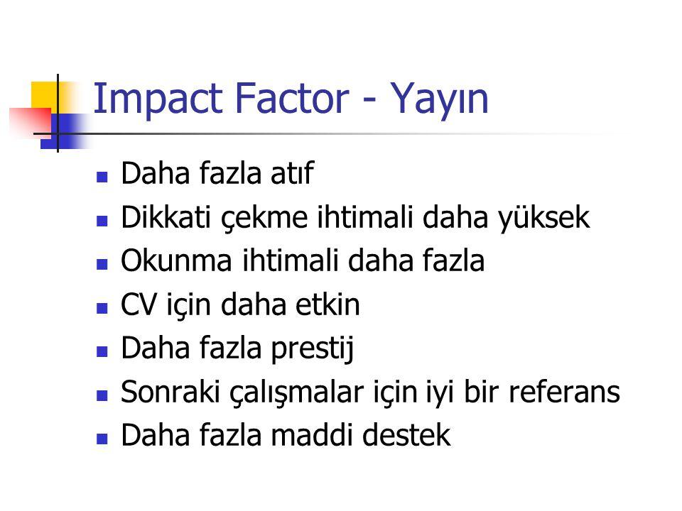 Impact Factor - Yayın Daha fazla atıf