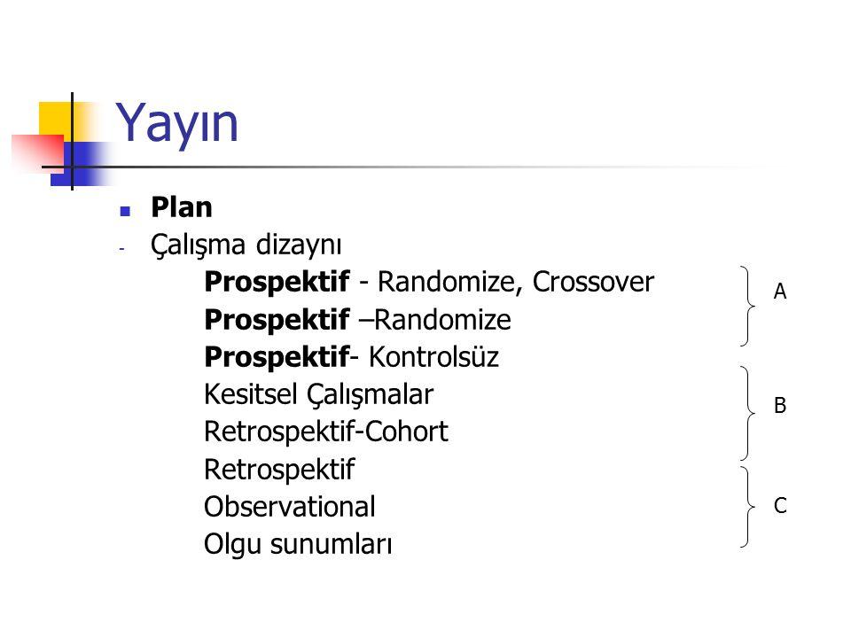 Yayın Plan Çalışma dizaynı Prospektif - Randomize, Crossover