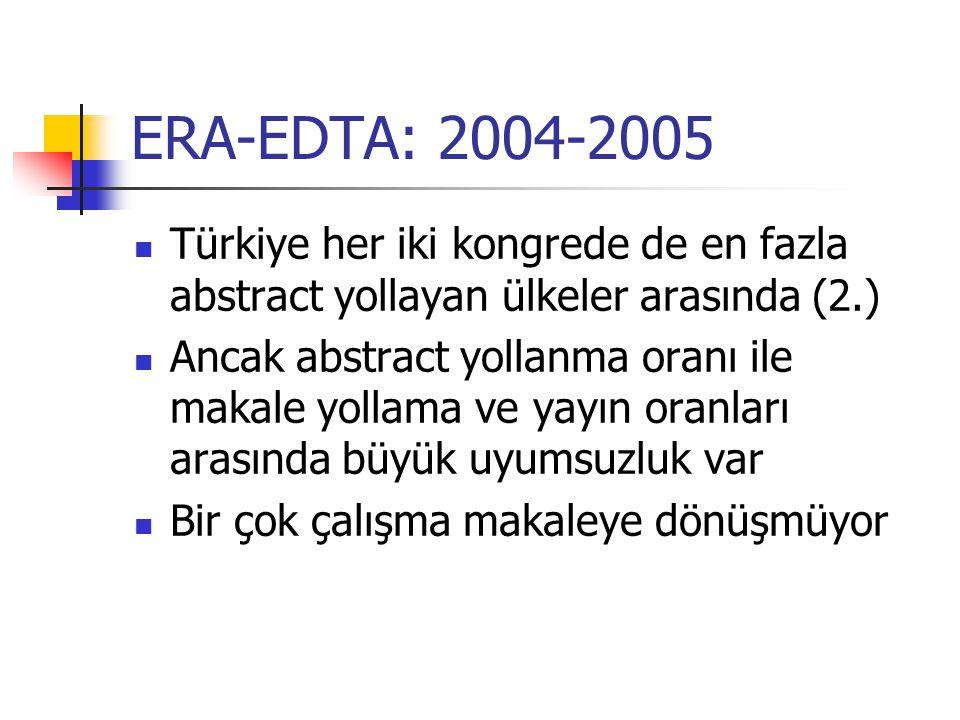 ERA-EDTA: 2004-2005 Türkiye her iki kongrede de en fazla abstract yollayan ülkeler arasında (2.)