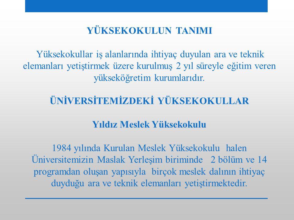 ÜNİVERSİTEMİZDEKİ YÜKSEKOKULLAR Yıldız Meslek Yüksekokulu