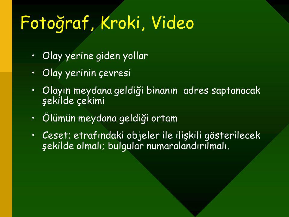 Fotoğraf, Kroki, Video Olay yerine giden yollar Olay yerinin çevresi