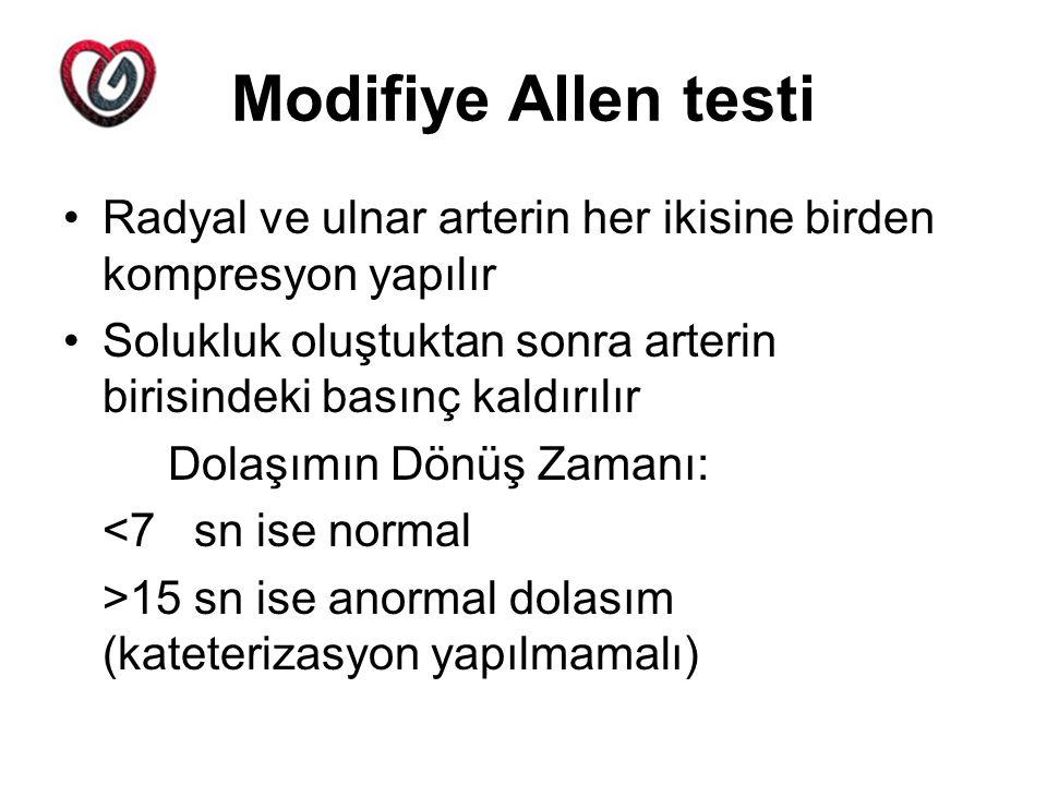 Modifiye Allen testi Radyal ve ulnar arterin her ikisine birden kompresyon yapılır. Solukluk oluştuktan sonra arterin birisindeki basınç kaldırılır.