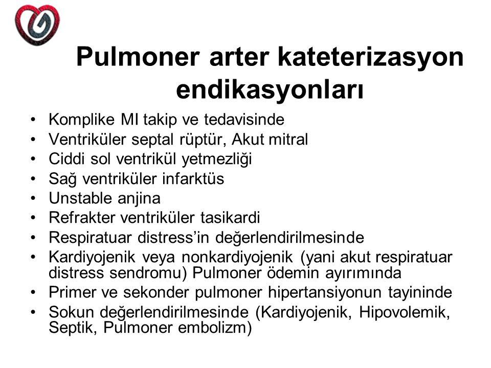 Pulmoner arter kateterizasyon endikasyonları