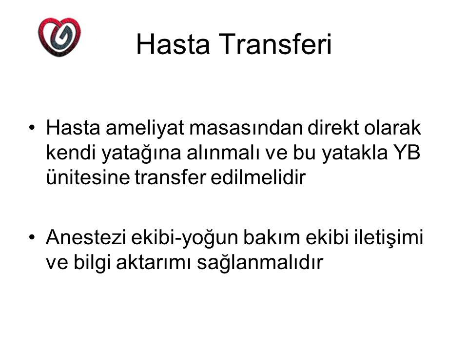 Hasta Transferi Hasta ameliyat masasından direkt olarak kendi yatağına alınmalı ve bu yatakla YB ünitesine transfer edilmelidir.