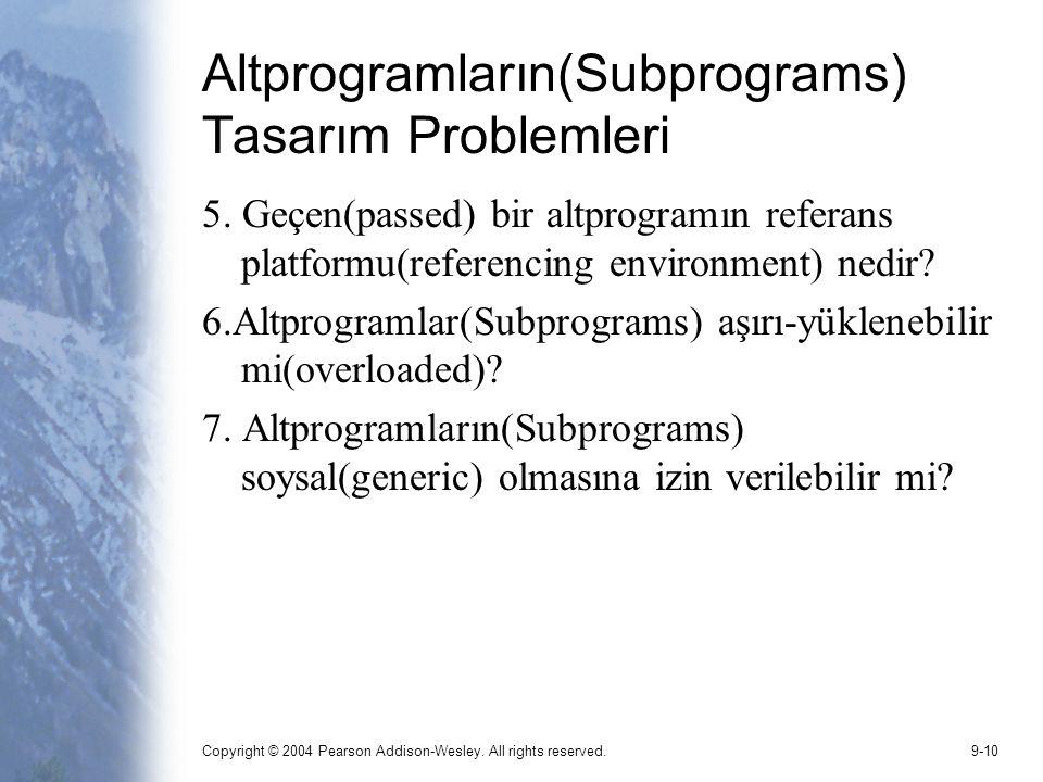 Altprogramların(Subprograms) Tasarım Problemleri
