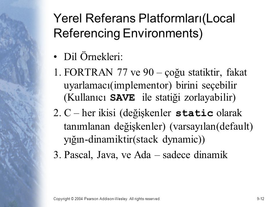 Yerel Referans Platformları(Local Referencing Environments)