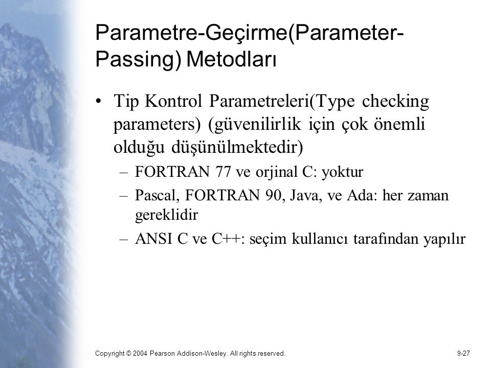 Parametre-Geçirme(Parameter-Passing) Metodları