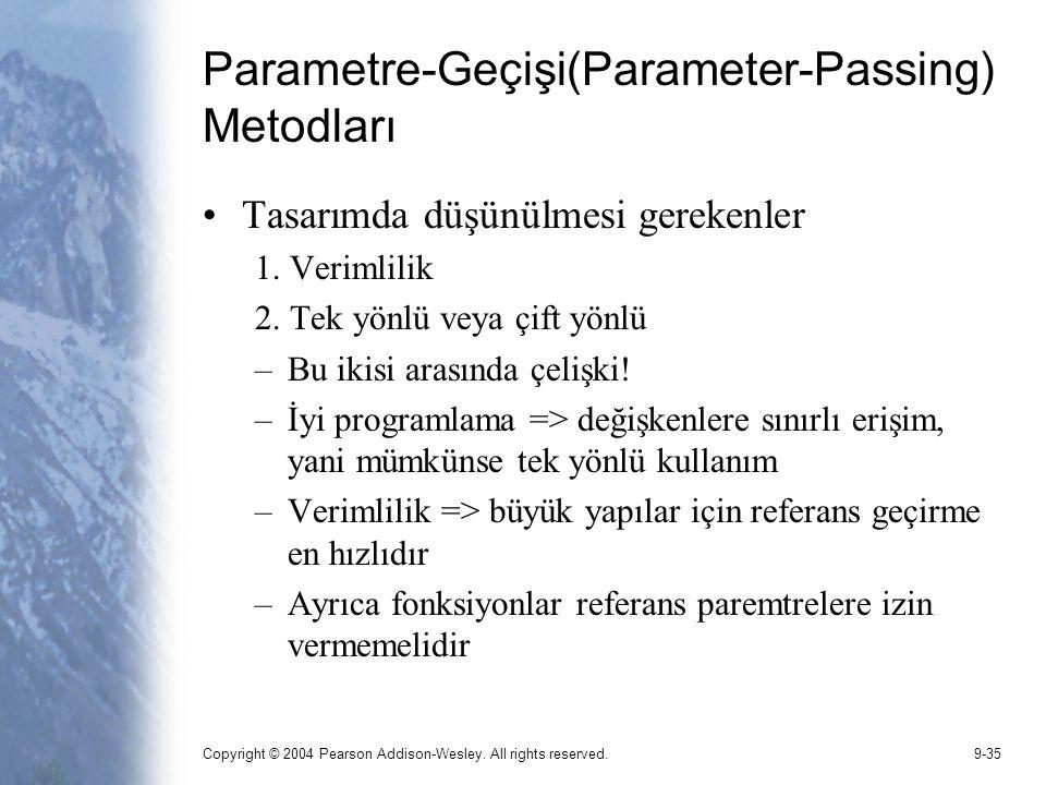 Parametre-Geçişi(Parameter-Passing) Metodları