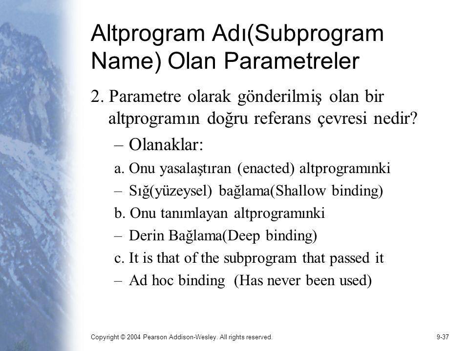 Altprogram Adı(Subprogram Name) Olan Parametreler