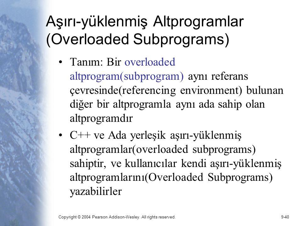 Aşırı-yüklenmiş Altprogramlar (Overloaded Subprograms)
