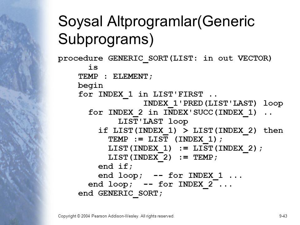 Soysal Altprogramlar(Generic Subprograms)