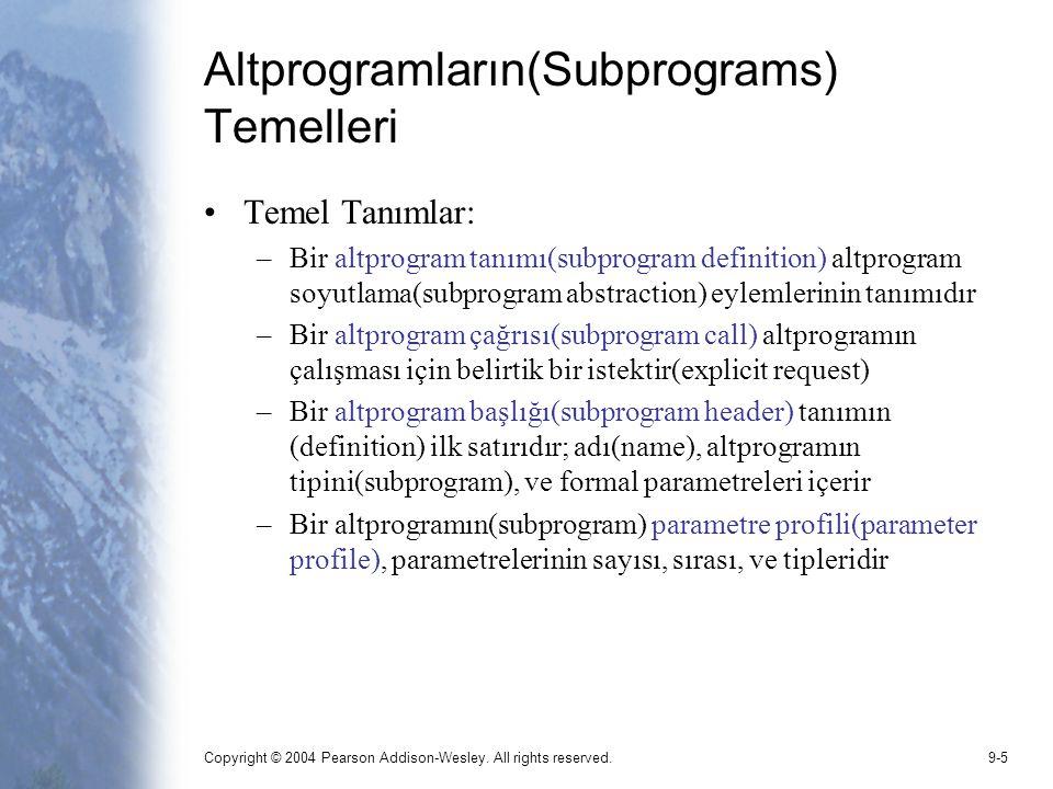 Altprogramların(Subprograms) Temelleri