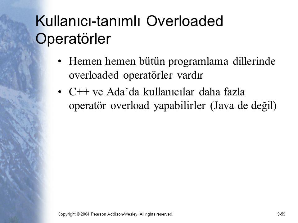 Kullanıcı-tanımlı Overloaded Operatörler