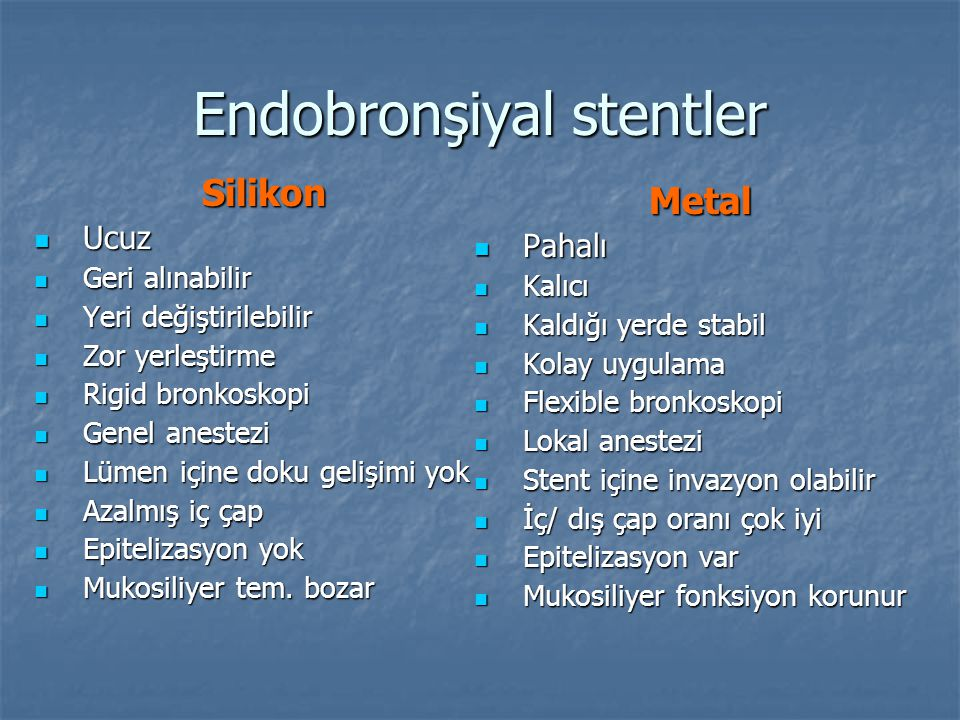 Endobronşiyal stentler