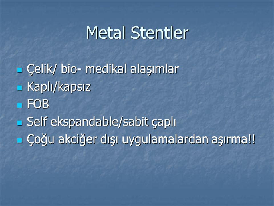 Metal Stentler Çelik/ bio- medikal alaşımlar Kaplı/kapsız FOB
