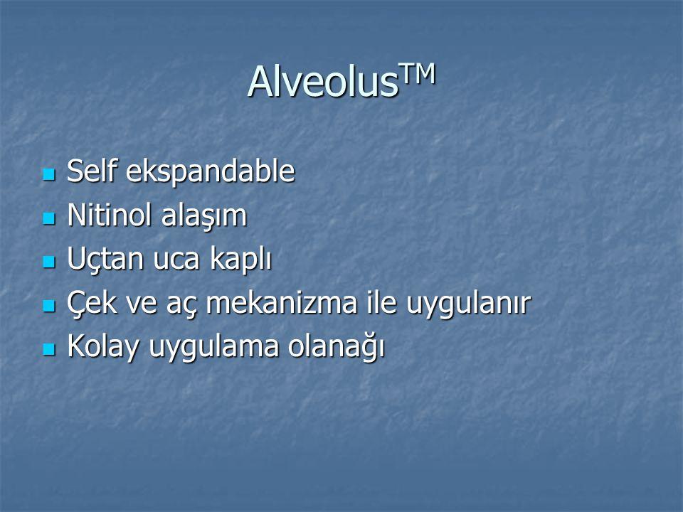 AlveolusTM Self ekspandable Nitinol alaşım Uçtan uca kaplı