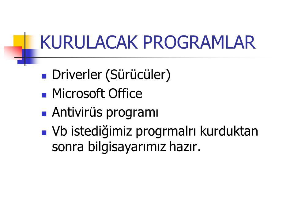 KURULACAK PROGRAMLAR Driverler (Sürücüler) Microsoft Office